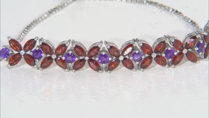 Red garnet Rhodium Over Silver Bolo Bracelet 4.50ctw