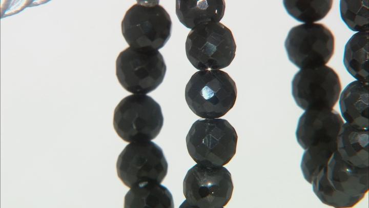 Black Spinel Rhodium Over Sterling Silver J-Hoop Earrings 70.00ctw