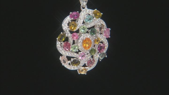 Orange Mandarin Garnet Rhodium Over Silver Pendant With Chain 3.69ctw