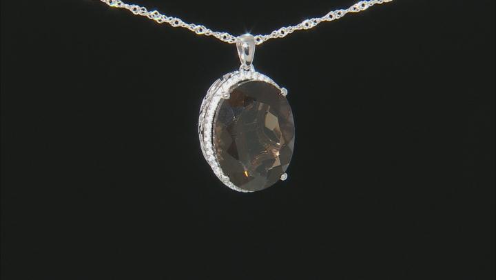 Brown Smoky Quartz Rhodium Over Silver Pendant With Chain 18.67ctw