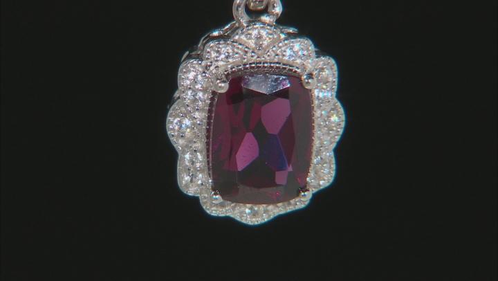Purple Raspberry Color Rhodolite Rhodium Over Silver Pendant With Chain 1.80ctw