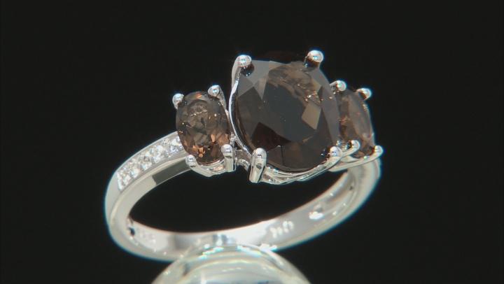 Brown Smoky Quartz Rhodium Over Silver Ring 2.87ctw