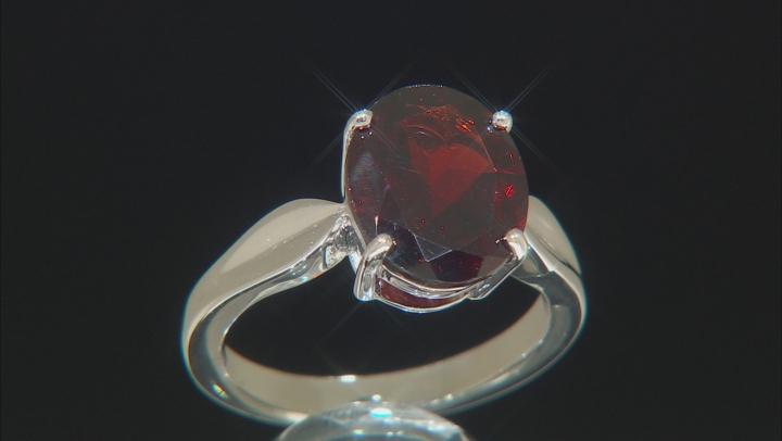 Red Garnet Rhodium Over Silver Ring 5.00ct