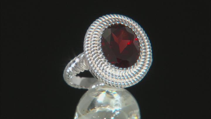 Red Garnet Rhodium Over Sterling Silver Ring 3.82ct