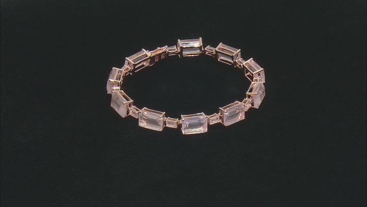 Pink rose quartz 18k rose gold over sterling silver bracelet