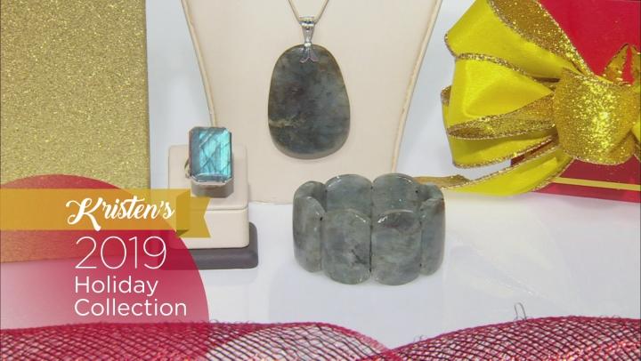 Gray Labradorite Rhodium Over Sterling Silver Enhancer Pendant