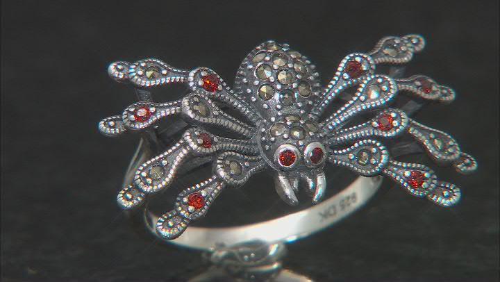 Red garnet spider sterling silver ring 0.39ctw