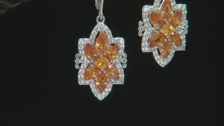 Orange Mandarin Garnet Rhodium Over Silver Earrings 3.95ctw