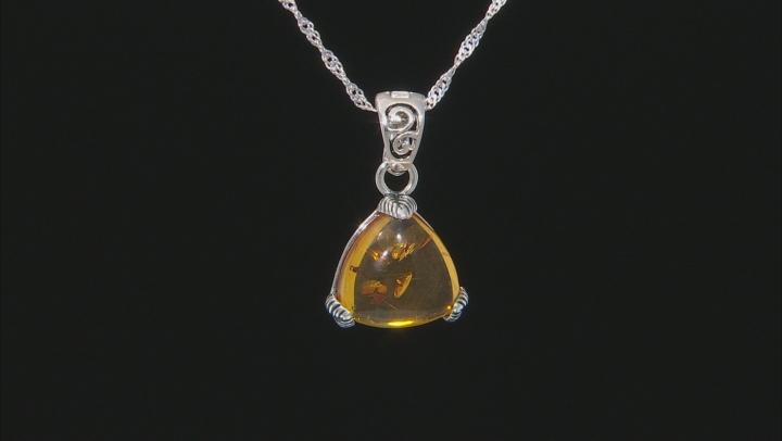 Orange amber rhodium over silver enhancer with chain