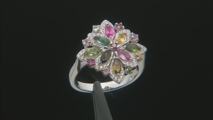 Multi-Color Tourmaline Rhodium Over Silver Ring 1.43ctw