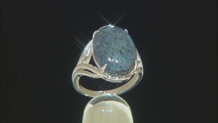 Blue Dumortierite Rhodium Over Silver Ring
