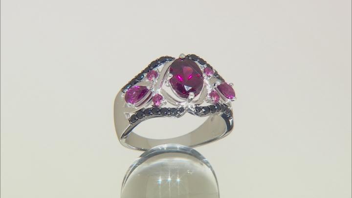 Purple Rhodolite Sterling Silver Ring 2.74ctw