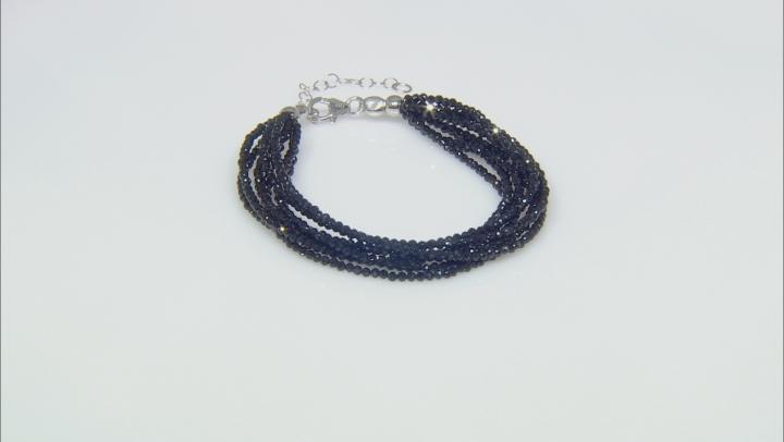 Black Spinel Sterling Silver Bracelet Approximately 46.75ctw