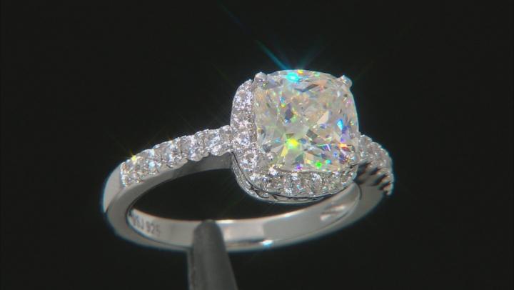 White Fabulite Strontium Titanate and White Zircon Rhodium Cver Silver Ring 3.92ctw