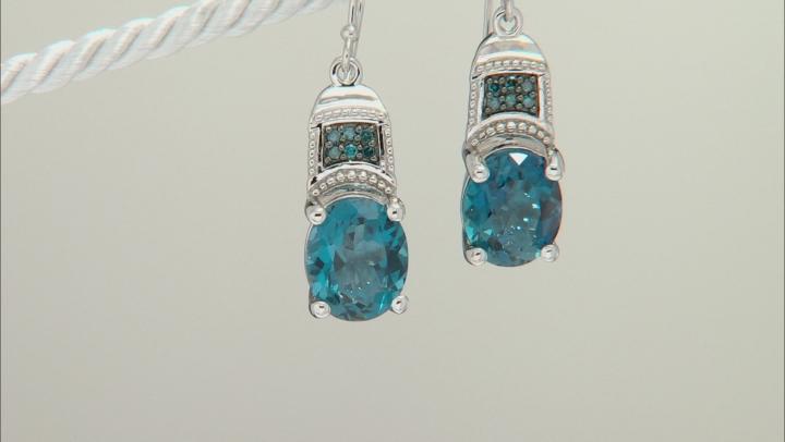 London Blue Topaz Rhodium Over Sterling Silver Dangle Earrings 7.68ctw.