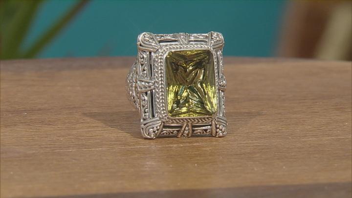 Green Olive Quartz Silver Ring 8.38ct