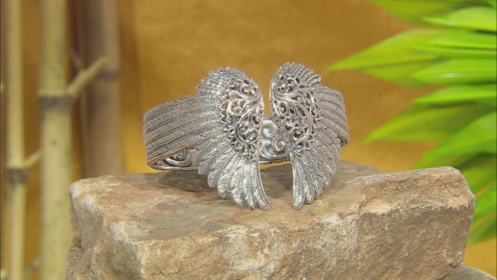 Sterling Silver Angel Wings Cuff Bracelet