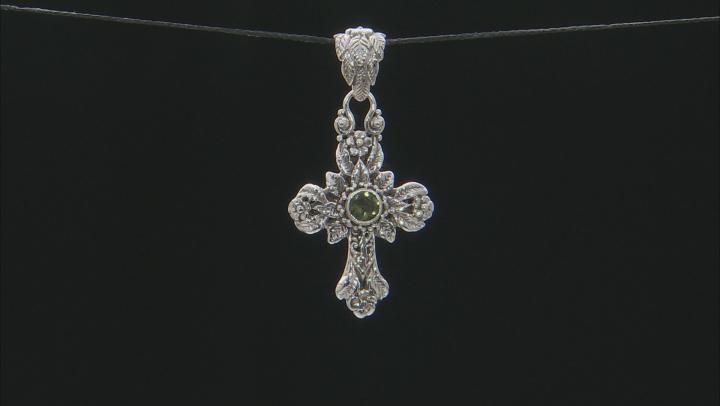 Green Moldavite Silver Cross Pendant .60ctw