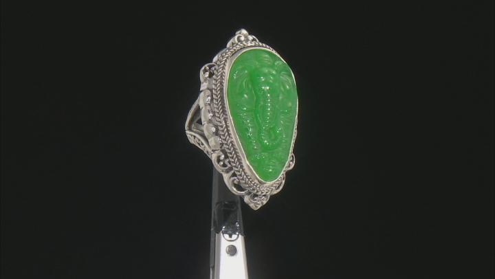 Green Quartz Silver Elephant Ring