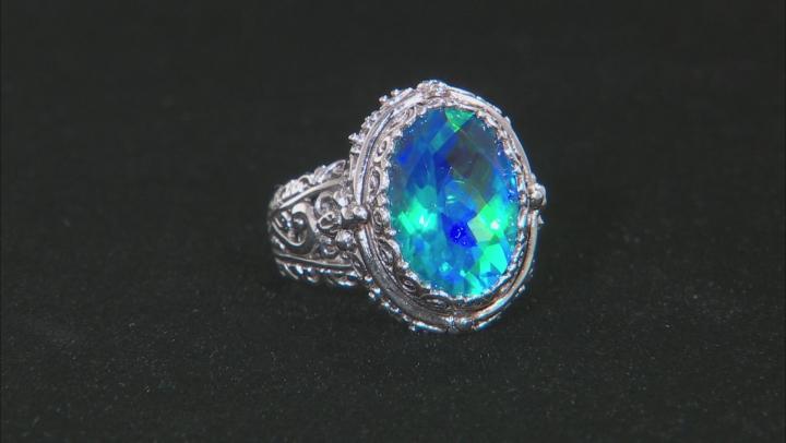 Rainbow Paraiba Blue Quartz Triplet Silver Ring