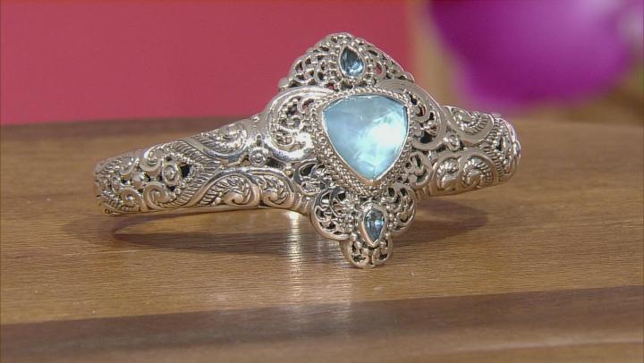 Paraiba Color Quartz Triplet Silver Bracelet .88ctw