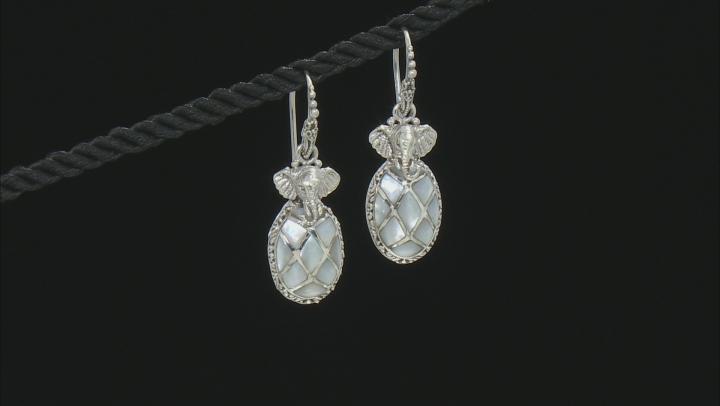 White Mother Of Pearl Elephant Earrings
