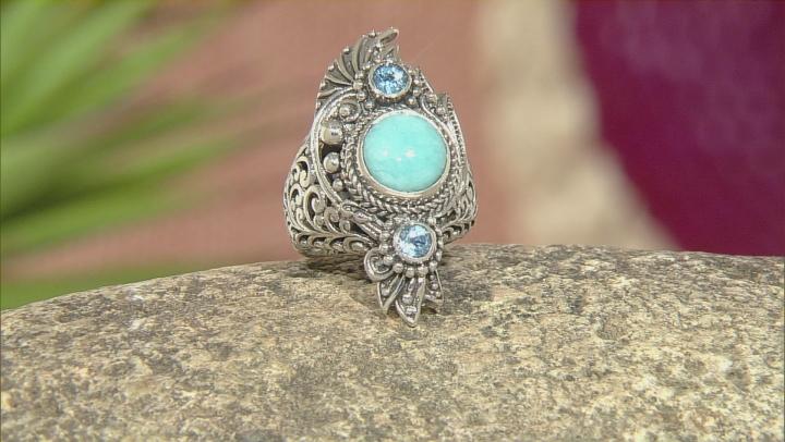 Blue Amazonite Silver Ring .62ctw
