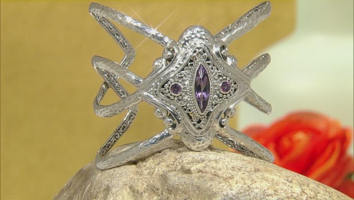 Purple Amethyst Silver Cuff 3.43ctw