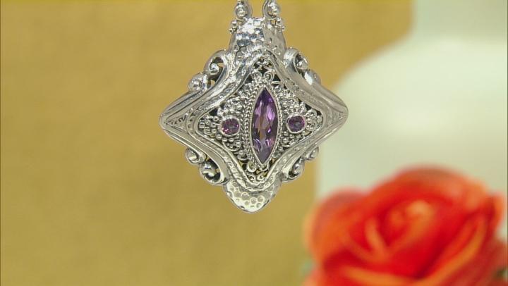 Purple Amethyst Silver Pendant 3.43ctw