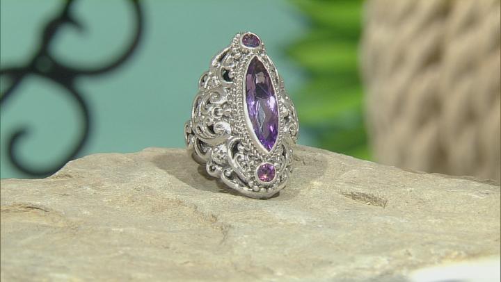 Purple Amethyst Silver Ring 4.70ctw