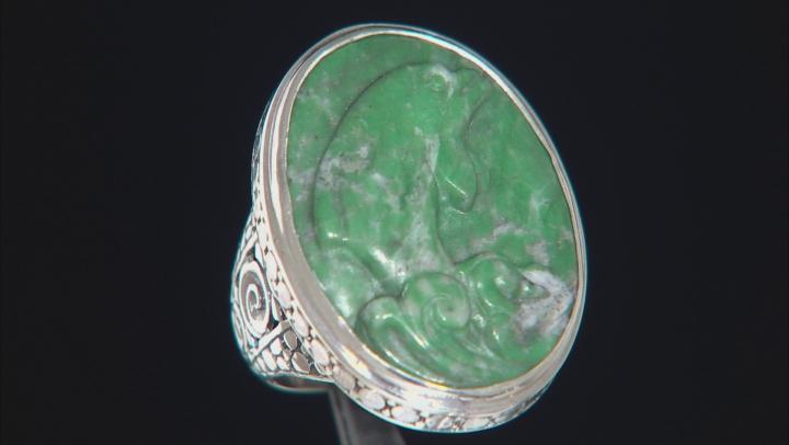 Green Amazonite Silver Ring