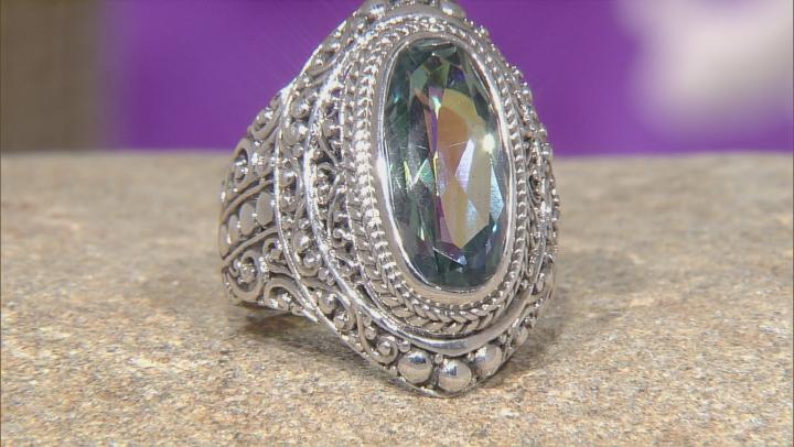 Aloha Green™ Mystic Quartz® Silver Ring 5.19ctw