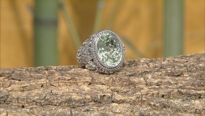 Green Prasiolite Silver Ring 6.80ctw