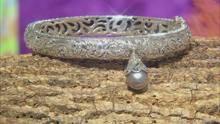 Black Cultured Saltwater Pearl Sterling Silver Bracelet