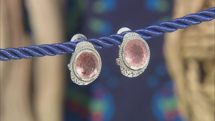 Red Cherry Quartz Sterling Silver Earrings 7.14ctw