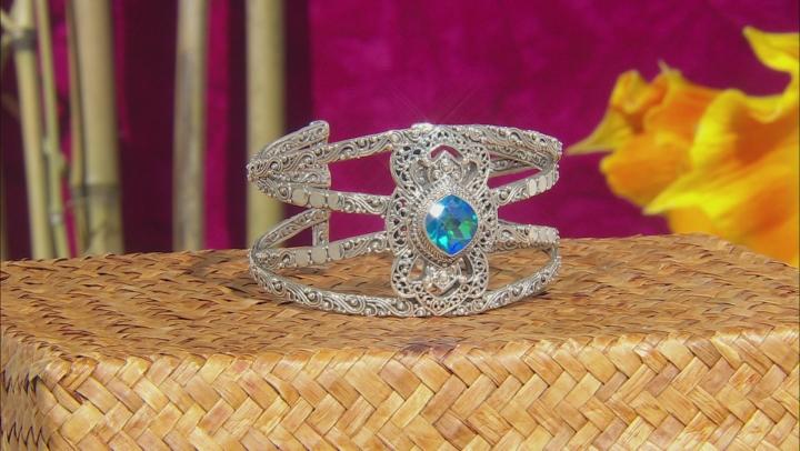 Rainbow Paraiba Color Quartz Triplet Sterling Silver Bracelet 7.40ctw