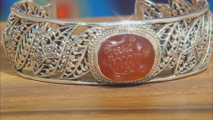 Orange Carnelian Turtle Sterling Silver Bracelet