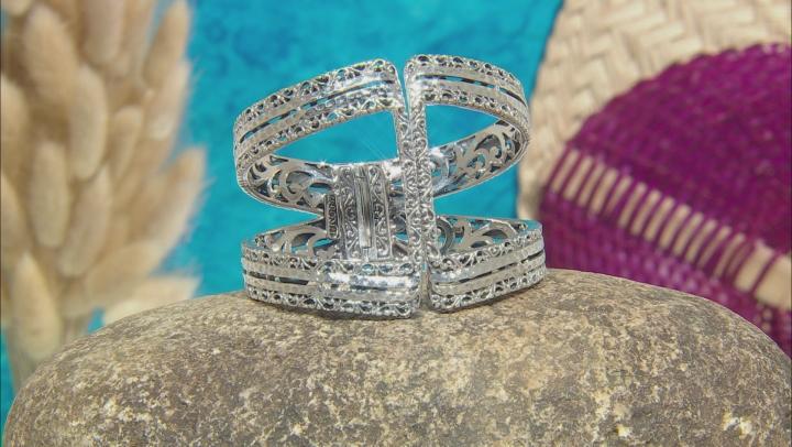 Sterling Silver Hinged Filigree Bracelet