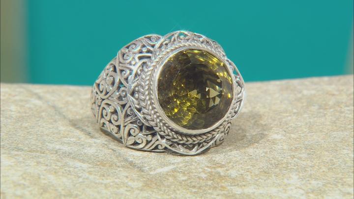 Green Olive Quartz Silver Ring 6.12ctw