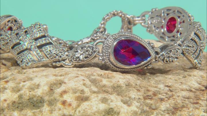 Rainbow Red Volcanic Quartz Triplet Silver Bracelet
