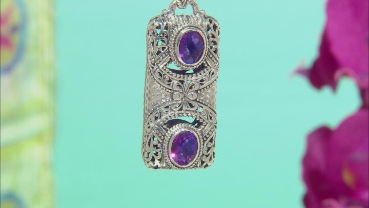 Purple Quartz Triplet Silver Pendant