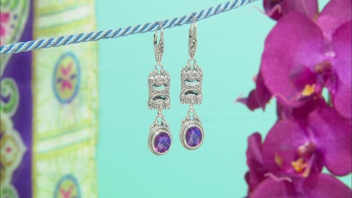 Purple Quartz Triplet Silver Earrings