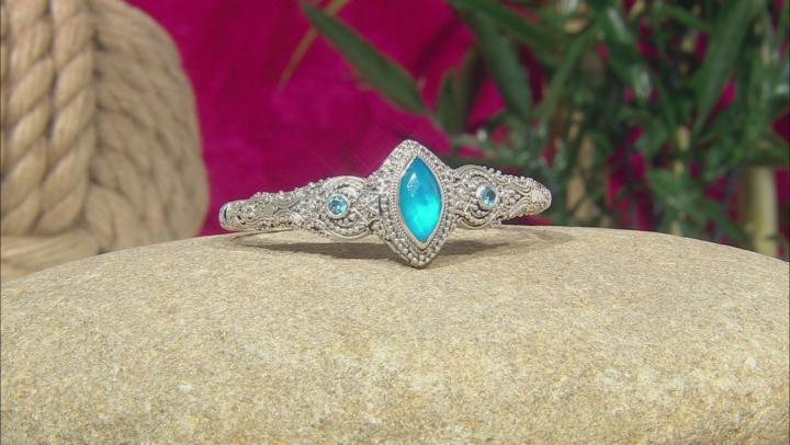 Blue Paraiba Color Quartz Triplet Silver Bracelet 0.62ctw