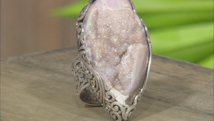 Multicolor Fossilized Drusy Quartz Shell Silver Ring