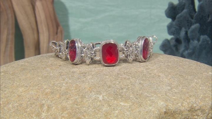 Ruby Red Mother Of Pearl Triplet Silver Bracelet