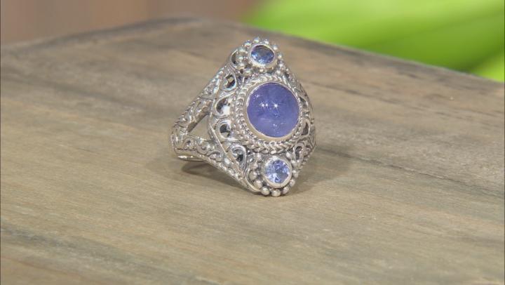 Blue Tanzanite Silver Ring 0.34ctw
