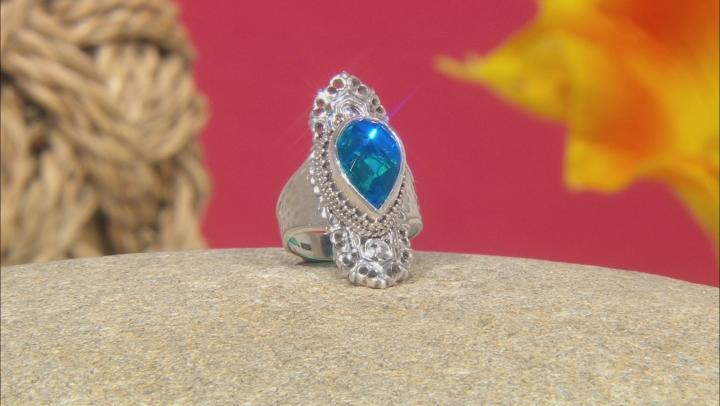 Rainbow Paraiba Color Caribbean Quartz Triplet Silver Ring