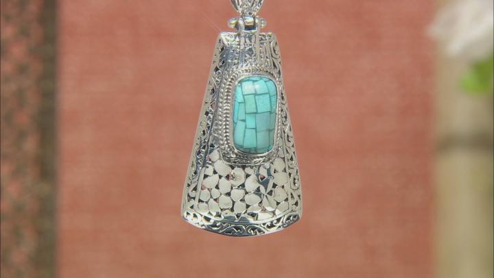 Turquoise Mosaic Silver Pendant