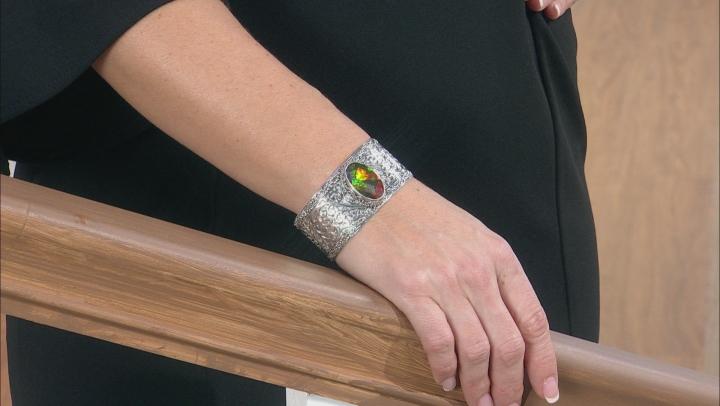 Multicolor Ammolite Doublet Silver Bracelet