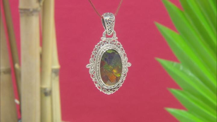 Multicolor Ammolite Doublet Silver Pendant